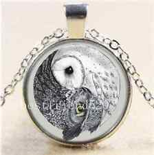 Ying and Yang Night Owl Cabochon Glass Tibet Silver Chain Pendant Necklace