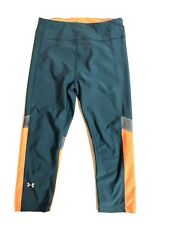 UNDER ARMOUR Heat Gear Compression Green Orange YOGA PANTS Capri Leggings Small