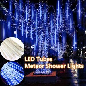 30cm 144LED Lights Meteor Shower Rain Tube Snowfall Tree Garden Christmas Blue