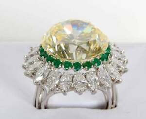 Gorgeous Sunflower Design With Intense Yellow 22.85CT Citrine, Emerald & CZ Ring