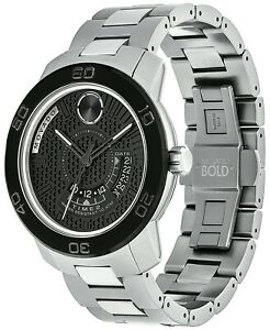 Movado Mens Bold GMT Black Dial 3600383 100% Authentic
