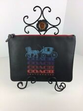 COACH F84739 OMBRE Signature LOGO Large Pouch Leather Black Multi NWT
