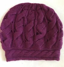 NWT QI Cashmere Cable Knit Beanie Hat Bordo $120
