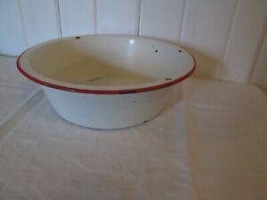"Vintage Enamelware Tub Basin Farm House Round Wash Bowl 9 1/2"" White Red"