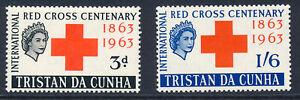 TRISTAN DA CUNHA 1963 RED CROSS CENTENARY SG69/70 BLOCKS OF 4 MNH