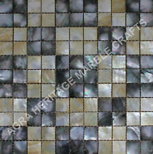 "24"" Marble Table Black and Yellow Mother of Pearl Inlay Mosaic Cubes Design E270"