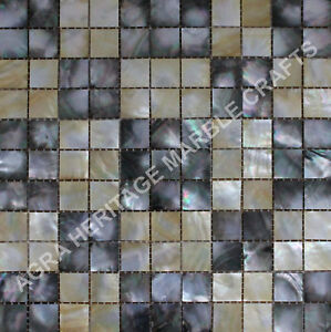 """24"""" Marble Table Black and Yellow Mother of Pearl Inlay Mosaic Cubes Design E270"""