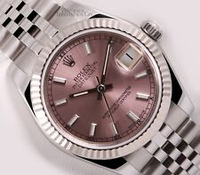 Rolex Lady Datejust Mid-Size 178274 Steel 31mm Watch-Pink Stick Dial-18k Bezel