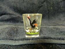 """Federal Glass Rooster Shot Glass Black Red Green 2 1/2"""" Tall (LOT A)"""