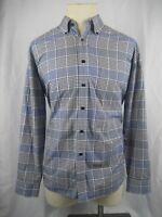 Men's NWOT Alan Flusser Gray Check Long Sleeve Cotton Dress Shirt size L