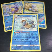 POKEMON! BLASTOISE WARTORTLE SQUIRTLE! 3 CARD SET REVERSE HOLO! SM TEAM UP! NM
