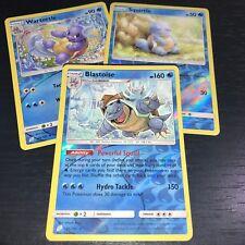 Pokemon! Blastoise Wartortle Squirtle! 3 Card Set Reverse Holo! Sm Team Up! Nm