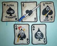 BLACK ACE of SPADES - LOT x 5 PATCH - HEARTS - GRIM REAPER - Vietnam War - 9251