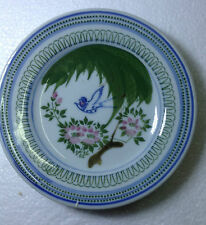 A Very Old HAND PAINTED BIRD & FLOWER MOTIF PORCELAIN PLATE 14cm