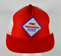 Vintage FMC Turbochargers MAN Trucker Hat, Red & White Mesh Snapback Cap (M/L)