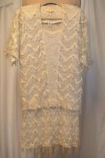 Vtg Damianou Ribbon/Lace/Tassels Low Waisted Blouson Chemise Flapper Dress-S-Ec