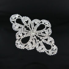 Diamante Silver Motif Rhinestone Applique Beaded Wedding Bridal Sewing Trim DIY