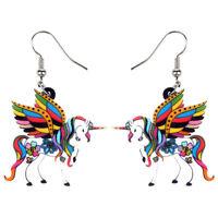 Acrylic Elegant Holy Unicorn Horse Earrings Drop Dangle Animal Jewelry For Women