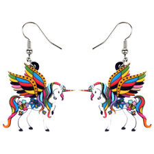 Acrylic Elegant Holy Unicorn Horse Earrings Drop Dangle Animal Jewelry For Women