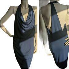 Bcbgmaxazria azul cortina delantero vestido Mini Scoop lado sin espalda Fiesta Tamaño Mediano