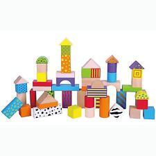 Childrens Wooden 50 Building Stacking Blocks Bricks Toy Tub Construction Set