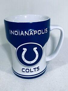 Indianapolis Colts NFL Coffee Cup Mug Blue White Horse Shoe Contoured 12 Ounces