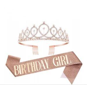 Birthday Girl Glitter Sash Tiara Crown 18th 21st 30th Birthday Party Decorations