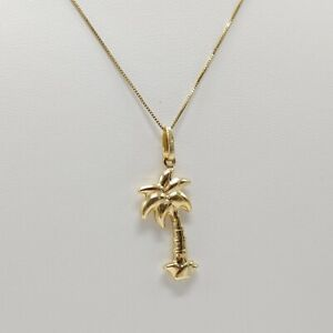 """14K Yellow Gold Palm Tree Necklace w Box Chain - 20"""" - 2.3Grams"""