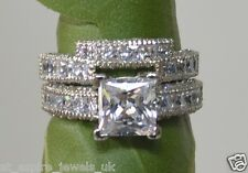 3.50 CT PRINCESS CUT ENGAGEMENT RING WEDDING BAND SOLID 14CT WHITE GOLD