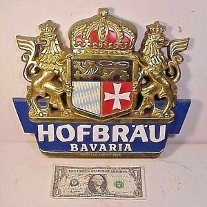 """Hofbrau German Beer Bavaria vtg Plastic Bar Sign 9 3/4"""" X 11 3/4"""""""