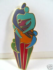 Laurel Burch Unity Family Bright Enamel Pin Family Together Brooch Teal Red Blue