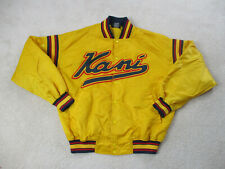 VINTAGE Karl Kani Jacket Adult Large Yellow Blue Satin Spell Out Coat Mens 90s *