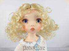 CURLY PALE BLONDE DOLL WIG WITH A  BRAID SIZE 8/9""