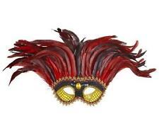 Jester Gold & Black Sequin Eye Mask Eyemask & Feathers Masquerade Fancy Dress
