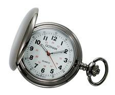 Gotham Men's Gun Metal White Dial Covered Quartz Pocket Watch # GWC15042B