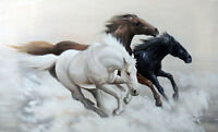 CHOP392  hand-painted modern 3 black white red horse art oil painting on canvas