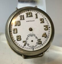 Rare WW1 Trench Watch AKURAT aRMY Military Wristwatches  Swiss