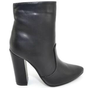 Scarpe donna tronchetto nero a punta effetto pelle made in italy glamour moda ta