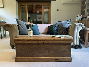 Old PINE CHEST, ANTIQUE Wooden Blanket TRUNK, Coffee TABLE, Storage BOX & TRAY