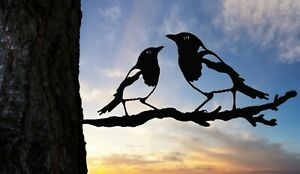Magpies metal bird tree art for the garden Steel Rusty Silver Copper two