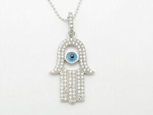 PLATINUM STERLING SILVER DIAMOND SET WHITE SAPPHIRE HAMSA HAND GOD EYE PENDANT