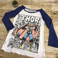 Marvel The Mighty Thor Blue & White 3/4 Sleeve Baseball T-Shirt Women's Sz M