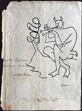 Picasso Original Bolígrafo de tinta Mano Firmado Dibujo mítico figuras