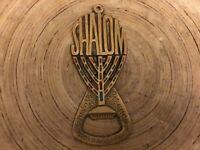 Vintage Memento Metal Jewish Shalom Bottle Cap Opener Jerusalem Menorah Souvenir