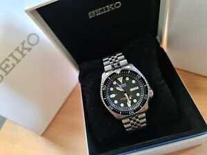 UNWORN! Seiko SKX007 J Japan Diver's watch 200m black on genuine jubilee boxed