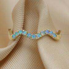 Natural Opalite Wave Band Wedding Ring 14k Yellow Gold Fine Jewelry
