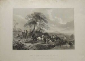 Antique Print: The Hawking Party at Rest by Philips Wouvermans / R Wallis, 1846
