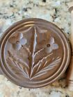 Butter Press Mold Antique Vintage Wood With Leaves Flowers Design   As Found