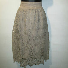 Skirt 3X Plus Tan Coffee Beautiful Crochet Lace Lined Stretch Comfort NWT 644X