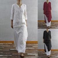 ZANZEA Women Cotton V Neck Long Split Dress Ladies Casual Shirt Dresses Tunic